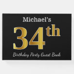 [ Thumbnail: Black, Faux Gold 34th Birthday Party + Custom Name Guest Book ]