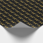 [ Thumbnail: Black, Faux Gold 34th (Thirty-Fourth) Event Wrapping Paper ]