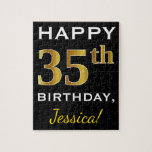 [ Thumbnail: Black, Faux Gold 35th Birthday + Custom Name Jigsaw Puzzle ]