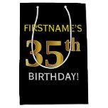 [ Thumbnail: Black, Faux Gold 35th Birthday + Custom Name Gift Bag ]