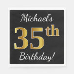 [ Thumbnail: Black, Faux Gold 35th Birthday + Custom Name Napkin ]
