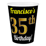 [ Thumbnail: Black, Faux Gold 35th Birthday + Custom Name Paper Cup ]