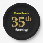 [ Thumbnail: Black, Faux Gold 35th Birthday + Custom Name Paper Plate ]