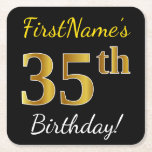 [ Thumbnail: Black, Faux Gold 35th Birthday + Custom Name Paper Coaster ]