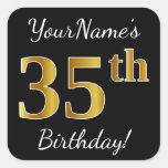 [ Thumbnail: Black, Faux Gold 35th Birthday + Custom Name Sticker ]