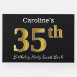 [ Thumbnail: Black, Faux Gold 35th Birthday Party + Custom Name Guest Book ]
