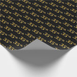 [ Thumbnail: Black, Faux Gold 35th (Thirty-Fifth) Event Wrapping Paper ]