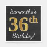 [ Thumbnail: Black, Faux Gold 36th Birthday + Custom Name Napkin ]