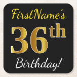 [ Thumbnail: Black, Faux Gold 36th Birthday + Custom Name Paper Coaster ]