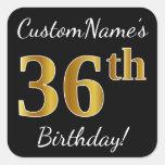 [ Thumbnail: Black, Faux Gold 36th Birthday + Custom Name Sticker ]