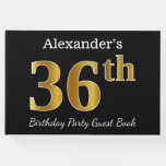 [ Thumbnail: Black, Faux Gold 36th Birthday Party + Custom Name Guest Book ]