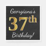 [ Thumbnail: Black, Faux Gold 37th Birthday + Custom Name Napkin ]