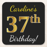 [ Thumbnail: Black, Faux Gold 37th Birthday + Custom Name Paper Coaster ]