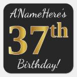 [ Thumbnail: Black, Faux Gold 37th Birthday + Custom Name Sticker ]