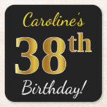 [ Thumbnail: Black, Faux Gold 38th Birthday + Custom Name Paper Coaster ]