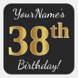 [ Thumbnail: Black, Faux Gold 38th Birthday + Custom Name Sticker ]