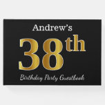[ Thumbnail: Black, Faux Gold 38th Birthday Party + Custom Name Guest Book ]