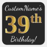 [ Thumbnail: Black, Faux Gold 39th Birthday + Custom Name Sticker ]
