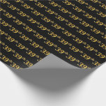[ Thumbnail: Black, Faux Gold 39th (Thirty-Ninth) Event Wrapping Paper ]