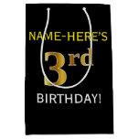 [ Thumbnail: Black, Faux Gold 3rd Birthday + Custom Name Gift Bag ]
