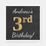 [ Thumbnail: Black, Faux Gold 3rd Birthday + Custom Name Paper Napkin ]