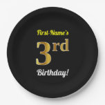 [ Thumbnail: Black, Faux Gold 3rd Birthday + Custom Name Paper Plate ]
