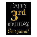 [ Thumbnail: Black, Faux Gold 3rd Birthday + Custom Name Postcard ]