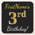 [ Thumbnail: Black, Faux Gold 3rd Birthday + Custom Name Paper Coaster ]