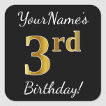 [ Thumbnail: Black, Faux Gold 3rd Birthday + Custom Name Sticker ]