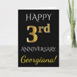 [ Thumbnail: Black, Faux Gold 3rd Wedding Anniversary + Name Card ]