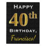 [ Thumbnail: Black, Faux Gold 40th Birthday + Custom Name Jigsaw Puzzle ]