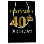 [ Thumbnail: Black, Faux Gold 40th Birthday + Custom Name Gift Bag ]