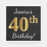[ Thumbnail: Black, Faux Gold 40th Birthday + Custom Name Napkin ]