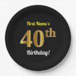 [ Thumbnail: Black, Faux Gold 40th Birthday + Custom Name Paper Plate ]