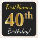 [ Thumbnail: Black, Faux Gold 40th Birthday + Custom Name Paper Coaster ]