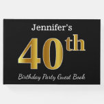 [ Thumbnail: Black, Faux Gold 40th Birthday Party + Custom Name Guest Book ]