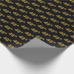 [ Thumbnail: Black, Faux Gold 40th (Fortieth) Event Wrapping Paper ]