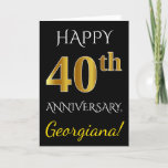 [ Thumbnail: Black, Faux Gold 40th Wedding Anniversary + Name Card ]