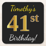 [ Thumbnail: Black, Faux Gold 41st Birthday + Custom Name Paper Coaster ]