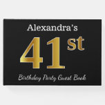 [ Thumbnail: Black, Faux Gold 41st Birthday Party + Custom Name Guest Book ]