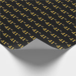 [ Thumbnail: Black, Faux Gold 41st (Forty-First) Event Wrapping Paper ]