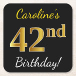 [ Thumbnail: Black, Faux Gold 42nd Birthday + Custom Name Paper Coaster ]