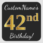 [ Thumbnail: Black, Faux Gold 42nd Birthday + Custom Name Sticker ]