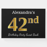 [ Thumbnail: Black, Faux Gold 42nd Birthday Party + Custom Name Guest Book ]