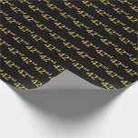 [ Thumbnail: Black, Faux Gold 42nd (Forty-Second) Event Wrapping Paper ]