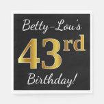[ Thumbnail: Black, Faux Gold 43rd Birthday + Custom Name Napkin ]