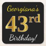 [ Thumbnail: Black, Faux Gold 43rd Birthday + Custom Name Paper Coaster ]