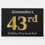 [ Thumbnail: Black, Faux Gold 43rd Birthday Party + Custom Name Guest Book ]