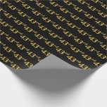 [ Thumbnail: Black, Faux Gold 43rd (Forty-Third) Event Wrapping Paper ]
