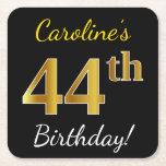 [ Thumbnail: Black, Faux Gold 44th Birthday + Custom Name Paper Coaster ]